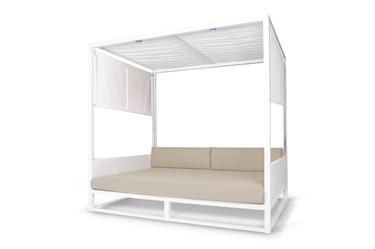 MONO Daybed - Powder-Coated Aluminum (white), Twitchell Leisuretex Upholstery (white), Sunbrella Canvas, Batyline