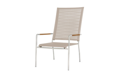 NATUN High Back Chair - Stainless Steel, Batyline Canatex (hemp)