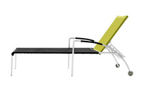 NATUN Lounger - Stainless Steel, Batyline Standard (black/lime)