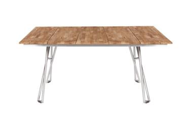 "NATUN Slat Table 63.5"" x 39.5"" - Stainless Steel (hairline finish), Recycled Teak (brushed and laminated finish)"