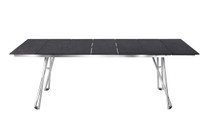 "NATUN Slat Table 88.5"" x 39.5"" - Stainless Steel (hairline finish), High Pressure Laminate (HPL - slate)"