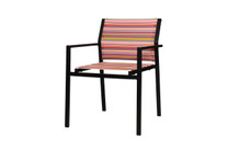 STRIPE Stackable Armchair  - Powder-Coated Aluminum (black), Twitchell Stripes Textilene Mesh Sling Seat/Back (orange barcode)