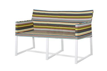 STRIPE Casual Love Seat - Powder-Coated Aluminum (white), Twitchell Stripes Textilene (green barcode)