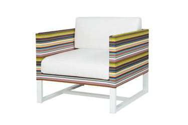 STRIPE Sofa 1-Seater Armchair - Powder-Coated Aluminum (white), Twitchell Stripes Textilene (green barcode), Sunbrella Canvas (white)