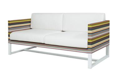 STRIPE Sofa 2-Seater Love Seat - Powder-Coated Aluminum (white), Twitchell Stripes Textilene (green barcode), Sunbrella Canvas (white)
