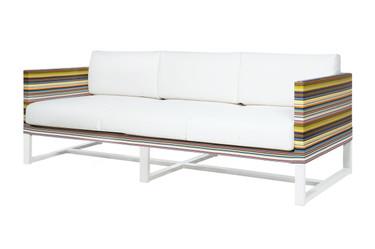 STRIPE Sofa 3-Seater - Powder-Coated Aluminum (white), Twitchell Stripes Textilene (green barcode), Sunbrella Canvas (white)