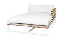 STRIPE Left Hand Chaise - Powder-Coated Aluminum (white), Twitchell Stripes Textilene (green barcode), Sunbrella Canvas (white)