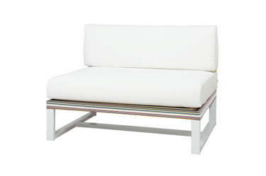 STRIPE Sectional Seat - Powder-Coated Aluminum (white), Twitchell Stripes Textilene (green barcode), Sunbrella Canvas (white)