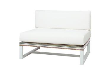 STRIPE Sectional Seat - Powder-Coated Aluminum (white), Twitchell Stripes Textilene (green barcode), Sunbrella Canvas (white)