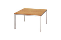 POLLY Lounge Table - Plantation Teak (smooth sanded), Stainless Steel (hairline finish)