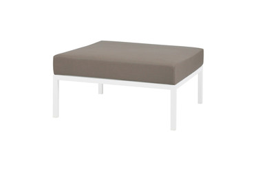 POLLY Ottoman - Powder-Coated Aluminum (white), Sunbrella Canvas (taupe)