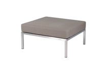 POLLY Ottoman - Stainless Steel (hairline finish), Sunbrella Canvas (taupe)