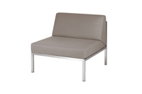 POLLY Sectional Seat - Stainless Steel (hairline finish), Sunbrella Canvas (taupe)