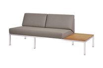 POLLY Left Hand Sectional - Stainless Steel (hairline finish), Sunbrella Canvas (taupe), Plantation Teak (smooth sanded narrow slats)
