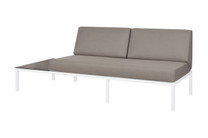 POLLY Right Hand Sectional - Powder-Coated Aluminum (white), Sunbrella Canvas (taupe), High Pressure Laminate (HPL - slate)