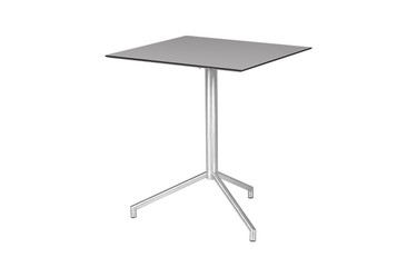 """CAFFE Square Table 25"""" Flip-Top -  Stainless Steel (hairline finish), High Pressure Laminate (sandstone)"""
