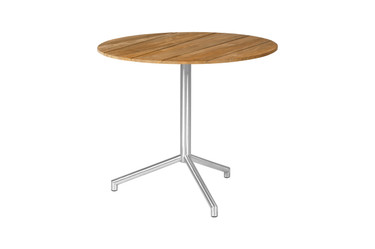 """CAFFE Round Table 27.5"""" Flip-Top - Stainless Steel (hairline finish), Recycled Teak (brushed finish)"""