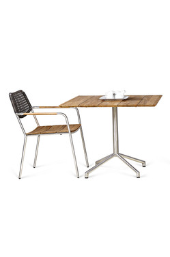 """CAFFE Square Table 35"""" (with MEIKA stacking chair - wicker) - Stainless Steel (hairline finish), Recycled Teak (brushed finish)"""