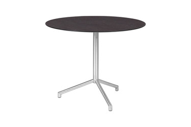 """CAFFE Round Table 33.5"""" -  Stainless Steel (hairline finish), High Pressure Laminate (slate)"""