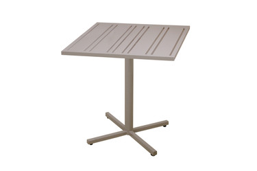 "YUYUP Bistro Table 27.5"" - Powder-coated galvanized steel frame (taupe), Powder-coated aluminum top (taupe)"