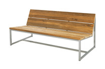 "OKO Casual Bench 59"" - Stainless Steel, Recycled Teak"