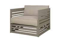 YUYUP Sofa 1-Seater Armchair - Powder-coated aluminum (taupe), Sunbrella Canvas (taupe)