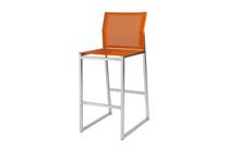 ZIX Bar Chair - Stainless Steel (hairline finish), Batyline Standard (orange)