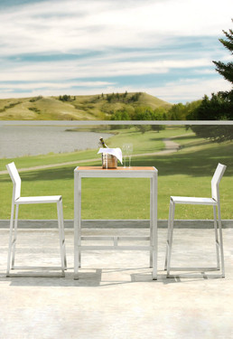 ZIX Bar Chairs with ZIX Teak Bar Table - Stainless Steel (hairline finish), Batyline Standard (white)