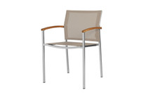 ZIX Stacking Armchair - Stainless Steel (hairline finish), Plantation Teak (smooth sanded), Batyline Standard (light taupe)