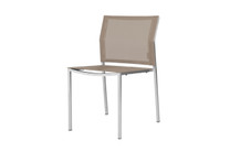 ZIX Stacking Side Chair - Stainless Steel (hairline finish), Batyline Standard (light taupe)