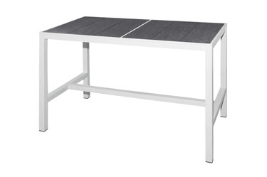"""ZIX Bar Table 59"""" x 31.5"""" - Stainless Steel (hairline finish), High Pressure Laminate (slate)"""
