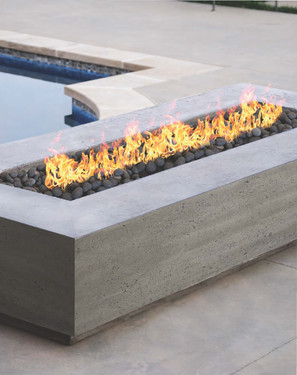 Tavola VI Fire Table (pewter with lava rock)
