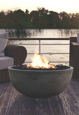 Moderno I Fire Pit (glass-fiber reinforced cement in pewter)