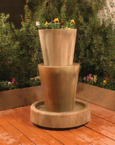 Bi-Level Jug Fountain With Planter (GFRC in sierra finish)