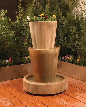 Bi-Level Jug Fountain With Planter (GFRC in sierra finish)