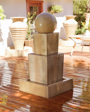 Double Obtuse Fountain with Ball (GFRC in Sierra finish)