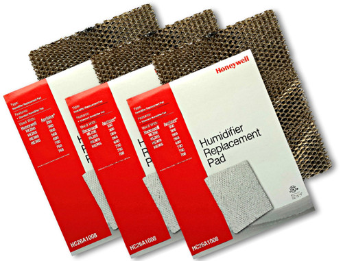 Honeywell HC26A1008 3 pack of humidifier pads for use in furnace and heat pump humidifiers.