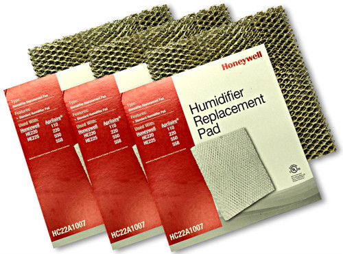 Honeywell HC22A1007 3 pack of humidifier pads for use in furnace and heat pump humidifiers.