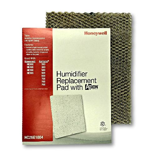 Honeywell HC26E1004 14x10 humidifier pad with Agion anti microbial shield for use in furnace and heat pump humidifiers.