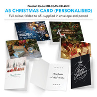 A5 Christmas Cards Printed in Full Colour (Choose from 6 options), supplied with outer envelopes (personalised and posted)