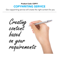 Copywriting Service - Our copywriting service can help you create the right content depending on your requirements (Charged per hour)
