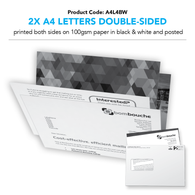 2 x A4 Letters Double-Sided black and white (personalised inc. 2nd class postage)