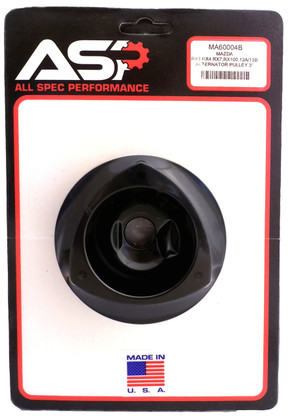 76mm Mazda rotary alternator pulley anodized in black MA60004B packaged