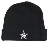 Black Baby Beanie Hat with White Nautical Star