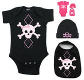 Punk Rock Pink Argyle Skull on Pink Onesie Bib & Beanie Gift Set