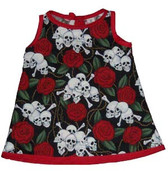 Punk Rock Baby Dress: Skulls N Roses