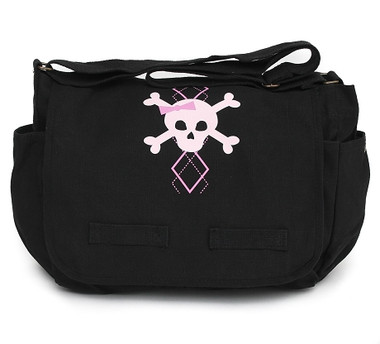Black Canvas Diaper Bag with Pink Argyle Skull Front