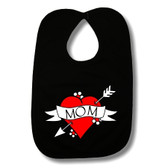 Mom Heart Tattoo Black Baby Bib
