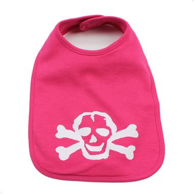 Pink Baby Bib with White Skull Graphics