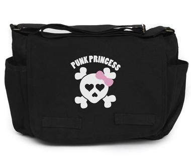 Punk Princess Pink Skull on Black Canvas Diaper Bag Front